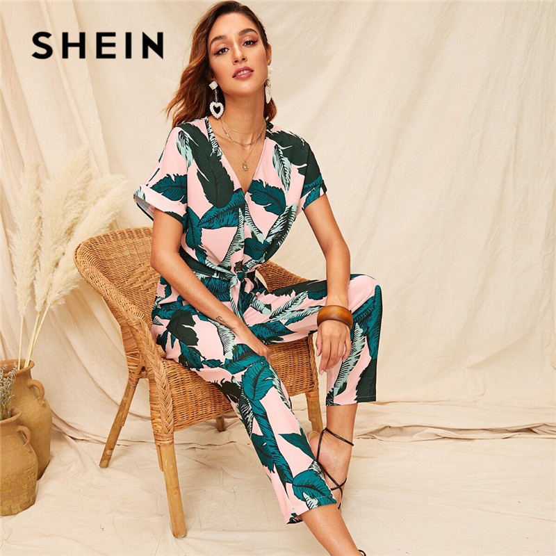 SHEIN Knot Front Tropical Print Blouse And Pants 2 Piece Set Women Boho V Neck Short Sleeve Crop Top Two Piece Set Matching Sets