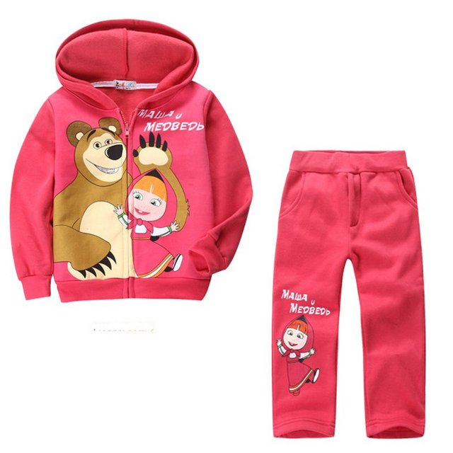 2016 Bear and Girl Cartoon Hoodie Sets Plus Velvet Hooded Rose Sports Hooded Girls Suit Autumn Winter Cardigan Hoodie Sets 0910
