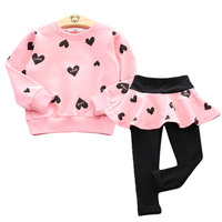 Toddler Girls Clothing Sets 2017 Autumn Winter Children Girls Clothes T Shirt Pants Christmas Outfits Kids