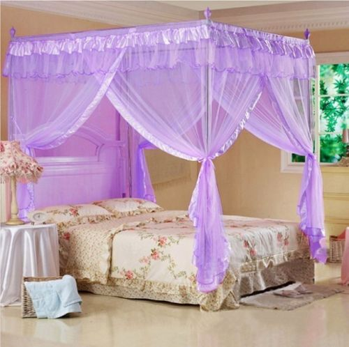 4 Poster Princess Bed Canopy Mosquito Net Cal King Full Queen Twin