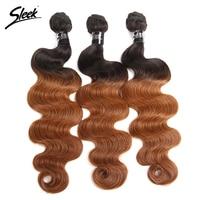 Sleek Ombre Brazilian Hair Body Wave 1B 30 Human Hair Weave Bundles Deal Two Tone Colored