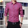 Szyid brand clothing весна мужчины повседневная рубашка в полоску slim fit стиль с длинным рукавом хлопок блузки вышивка мужские рубашки B014