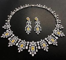 HIBRIDE أنيقة الروسية النساء الزفاف طقم مجوهرات AAA مكعب الزركون تمهيد قلادة طقم أقراط للمشاركة اكسسوارات N 1048