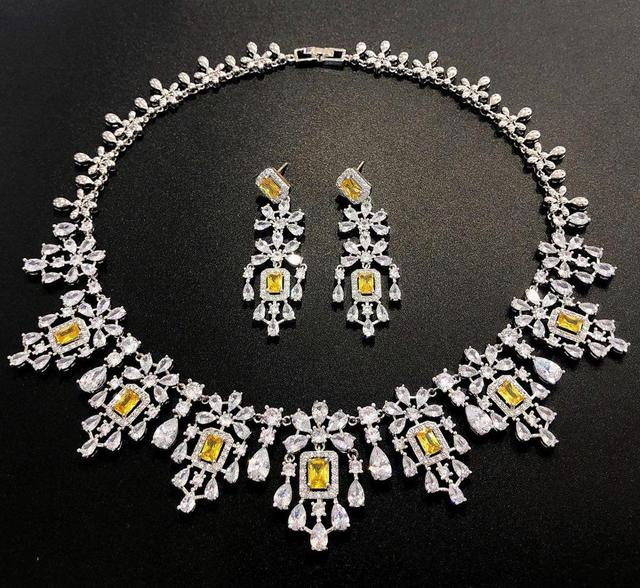 HIBRIDE Elegant Russian Women Bridal Jewelry Set AAA Cubic Zircon Pave Necklace Earring Sets for Engagement Accessories N 1048