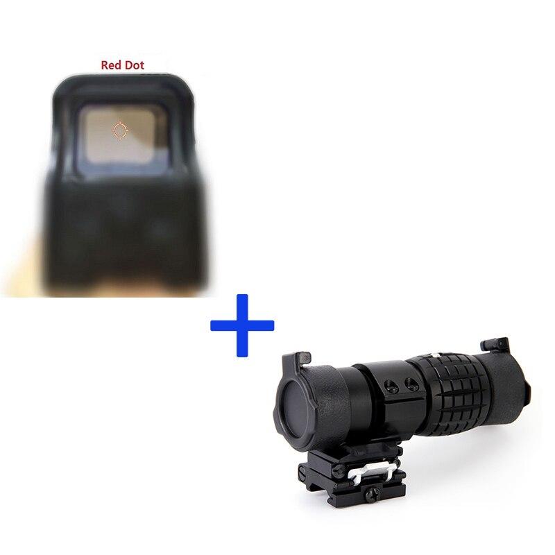 551 óptica holográfica riflesocpe tático vermelho e verde dot reflex sight + 3x30mm foco de ampliação para a caça