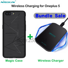 NILLKIN Wireless Charger Charging Pad Fast Edition + Wireless Charging Receiver Case for Oneplus 5 One plus 5