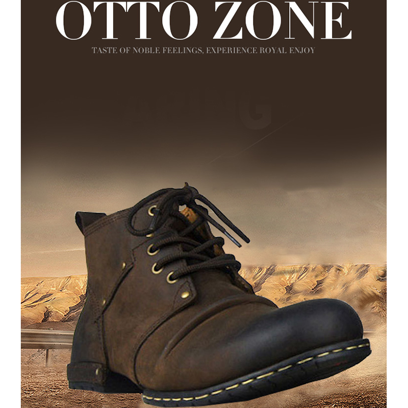 OTTO Top Quality Handmade High Shoes Boots Rivet Spring Boots With Fur Genuine Cow Leather Men