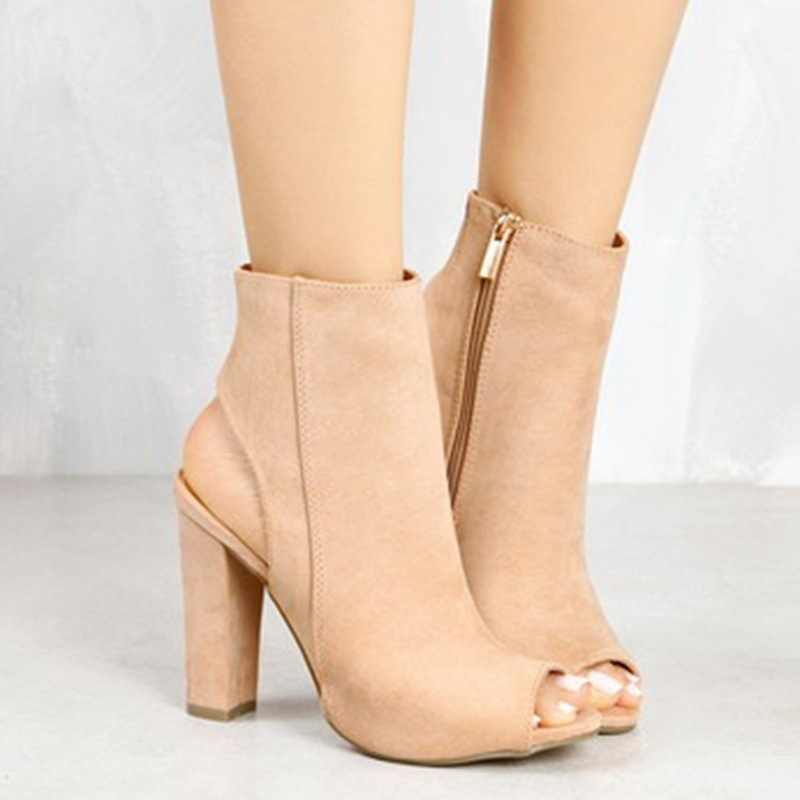 Ankle Boots Faux Suede Couro Casual Aberto Peep Toe de Salto Alto Com Zíper Quadrado Moda de Borracha Sapatos Pretos Para As Mulheres Mais tamanho 43