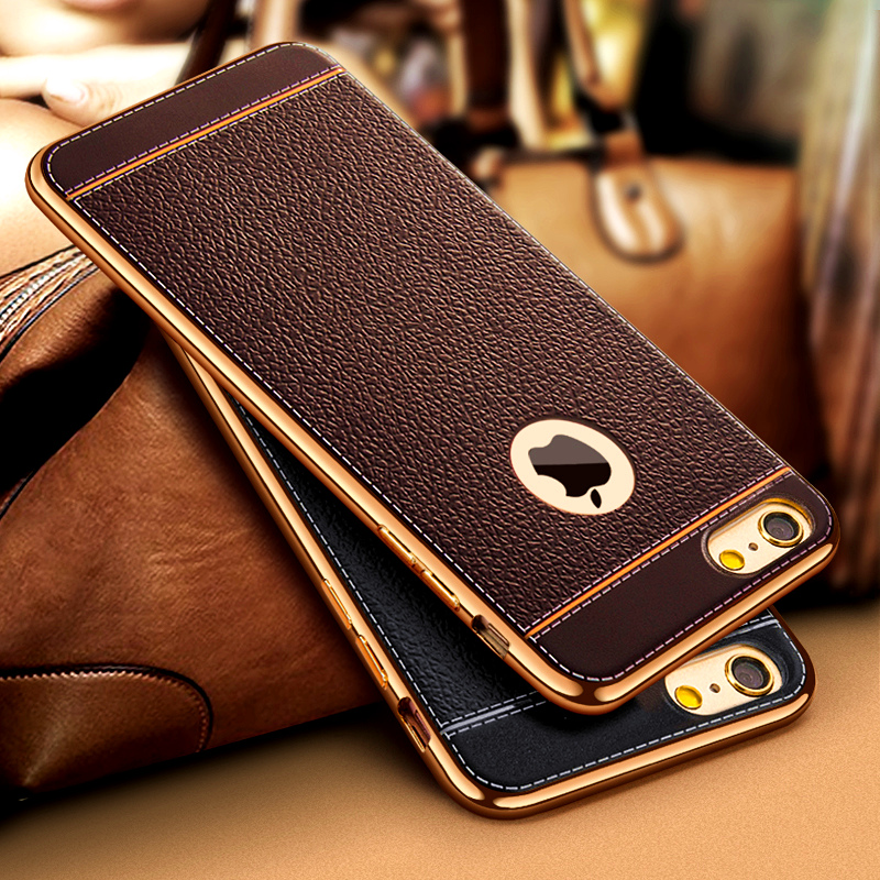 For iPhone 7 8Plus Luxury Ultra Slim Leather Pattern Retro Phone Case For iphone X 5 5S SE 6 6SPlus Soft TPU Silicone Back Cover
