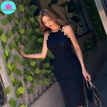 2019 summer new round neck sleeveless sexy slim knit dress handbag hip dress Sleeveless  Solid  Button  O-Neck sweet round neck button down knit dress for women