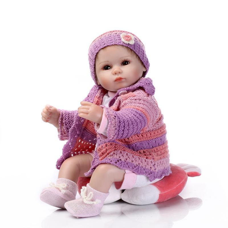 Nicery 16-18 pouces 40-45cm Reborn bébé poupée bouche magnétique souple Silicone réaliste fille jouet cadeau pour enfant noël violet vêtements - 5