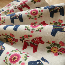50x150cm Cotton Linen Fabric DIY Home Deco Cushion Table Cover Bag Printed Red Blue Wooden Horse Flower