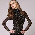 S-XXXL women turtleneck T-Shirts and shirts mesh Full Sequined Short Turtleneck fashion  womens ladies  through tops womens