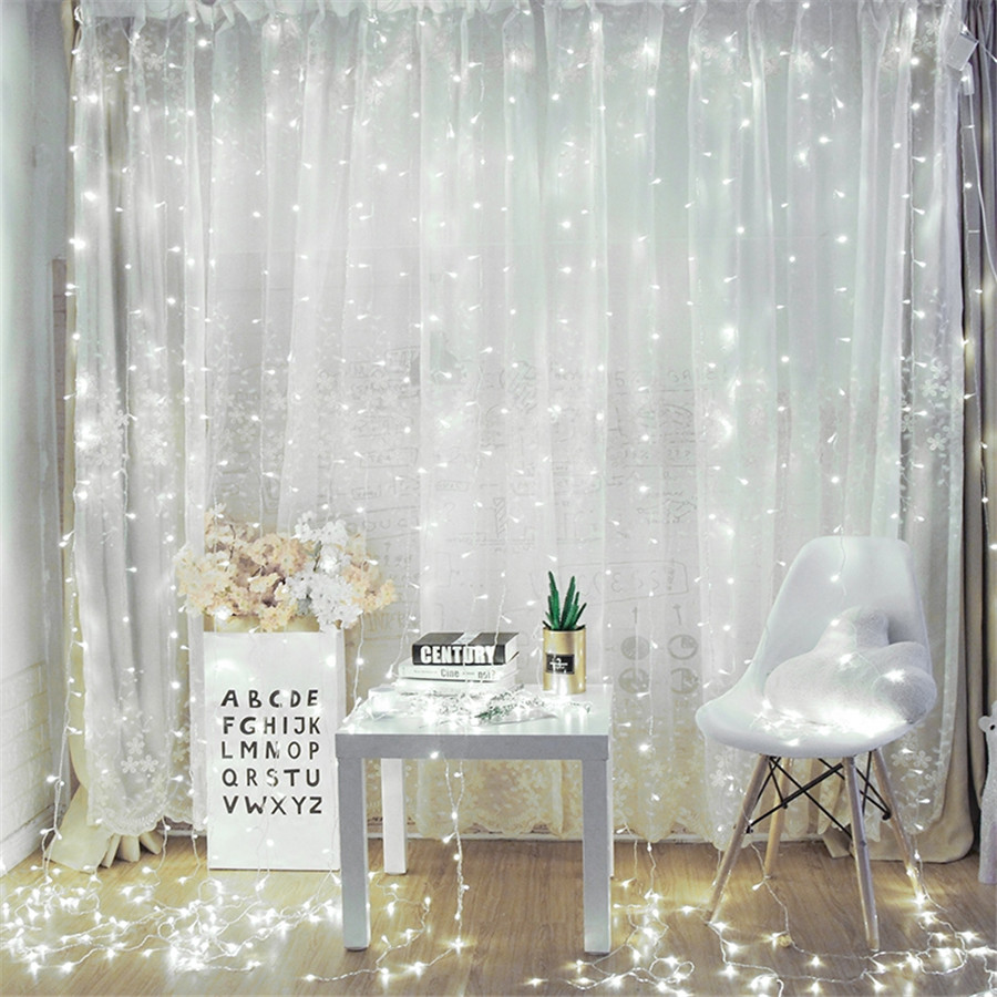 BEIAIDI 3X3M IP65 Outdoor Curtain Icicle String Light With Remote USB/AA Battery Powered Wedding Christmas Party Fairy String