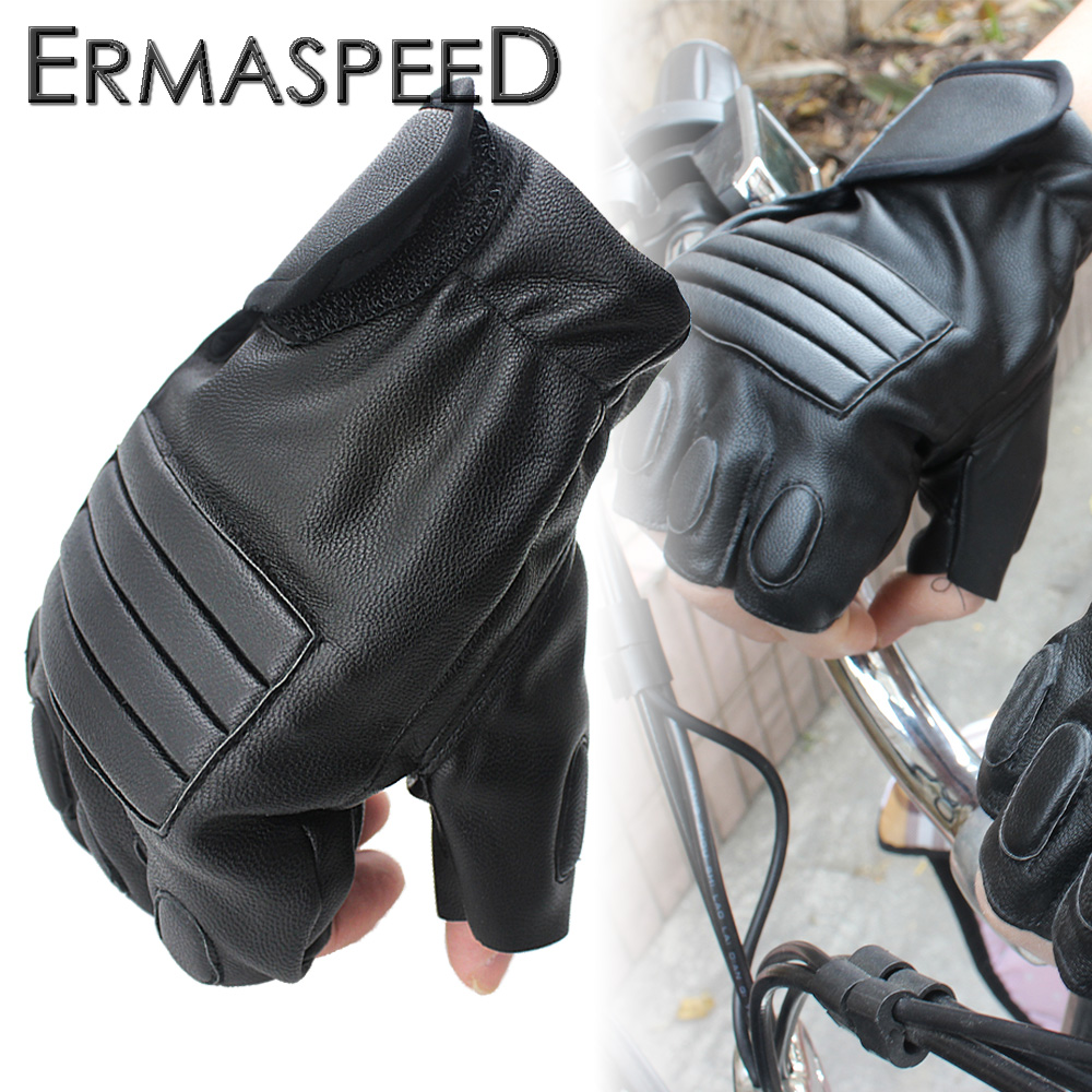 Pair <font><b>Motorcycle</b></font> PU Leather Half Finger <font><b>Fingerless</b></font> <font><b>Gloves</b></font> Retro Summer Spring Riding Hand Protect Racing <font><b>Glove</b></font> <font><b>Black</b></font> for Harley