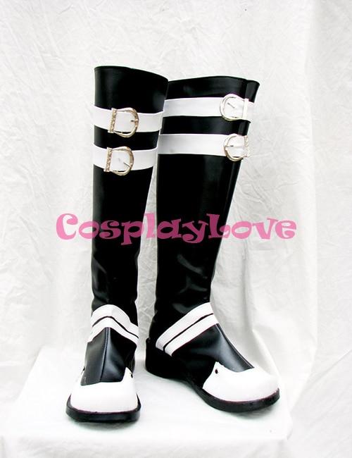 D.Gray-man Yu Kanda Black Cosplay Shoes Long Boots Hand Made Custom-made For Halloween Christmas CosplayLove