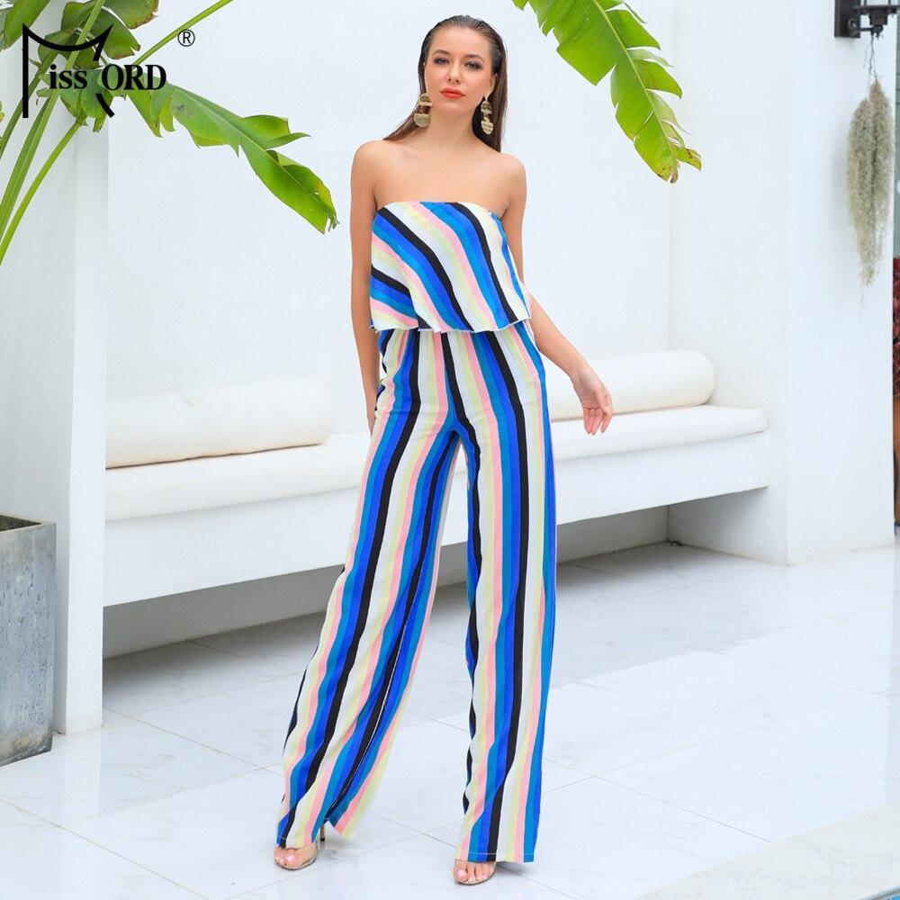 Missord Two Pcs Set Elegant Ruffle Jumpsuit FT18839