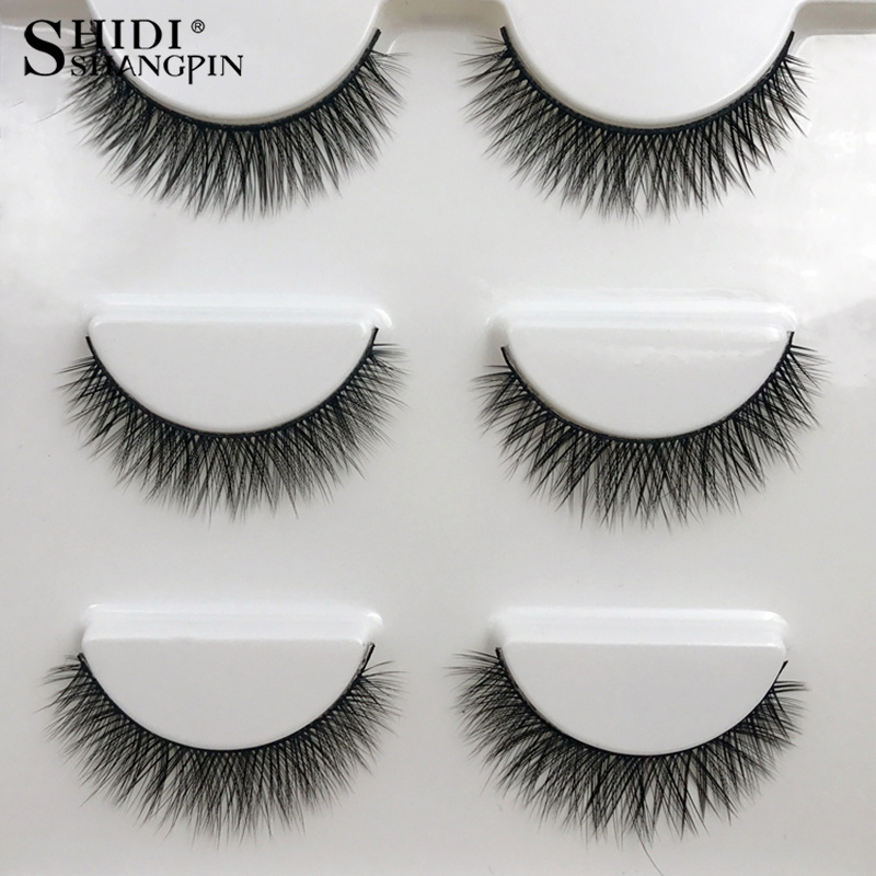 SHIDISHANGPIN 1 Box Mink Eyelashes Natural Long 3d Mink Lashes Short  Cross Messy False Eyelash 8mm 3 Pairs Mink Eyelashes X05