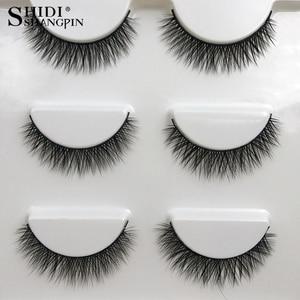 Image 1 - SHIDISHANGPIN 1 box mink eyelashes natural long 3d mink lashes short  Cross Messy false eyelash 8mm 3 pairs mink eyelashes X05