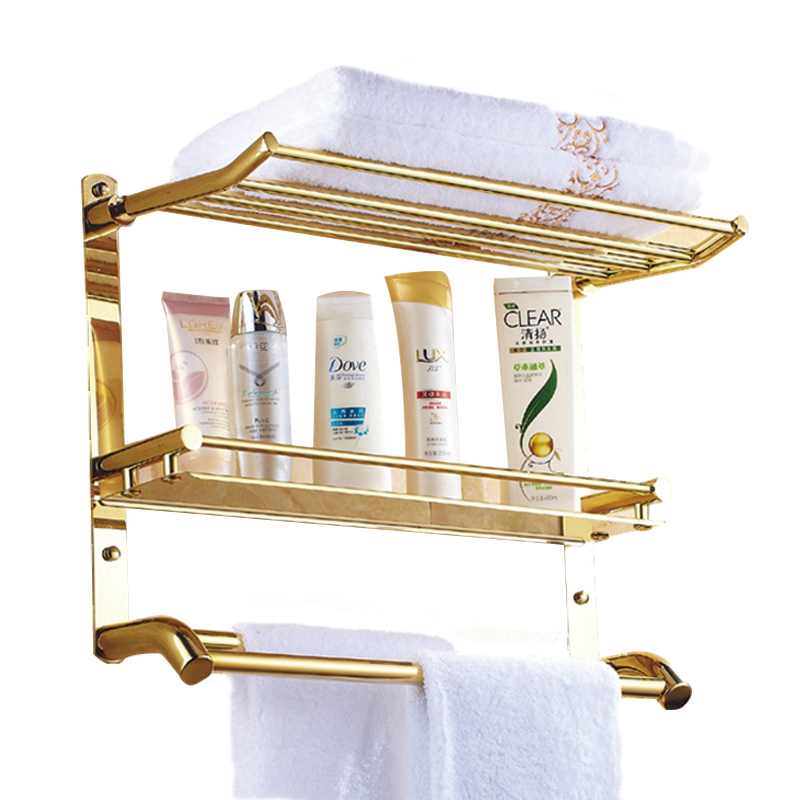 gold plating shelf stainless steel shelf with towel rack three layer shelf sanitary ware pendant bathroom accessories set robbe