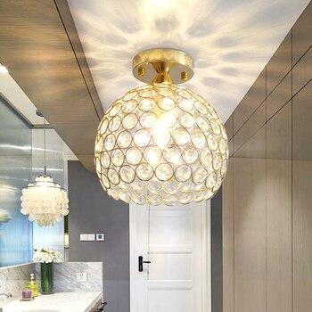 Modern brief aisle K9 crystal ball E14 LED bulb ceiling lamp home deco bedroom chrome iron ceiling lighting fixture