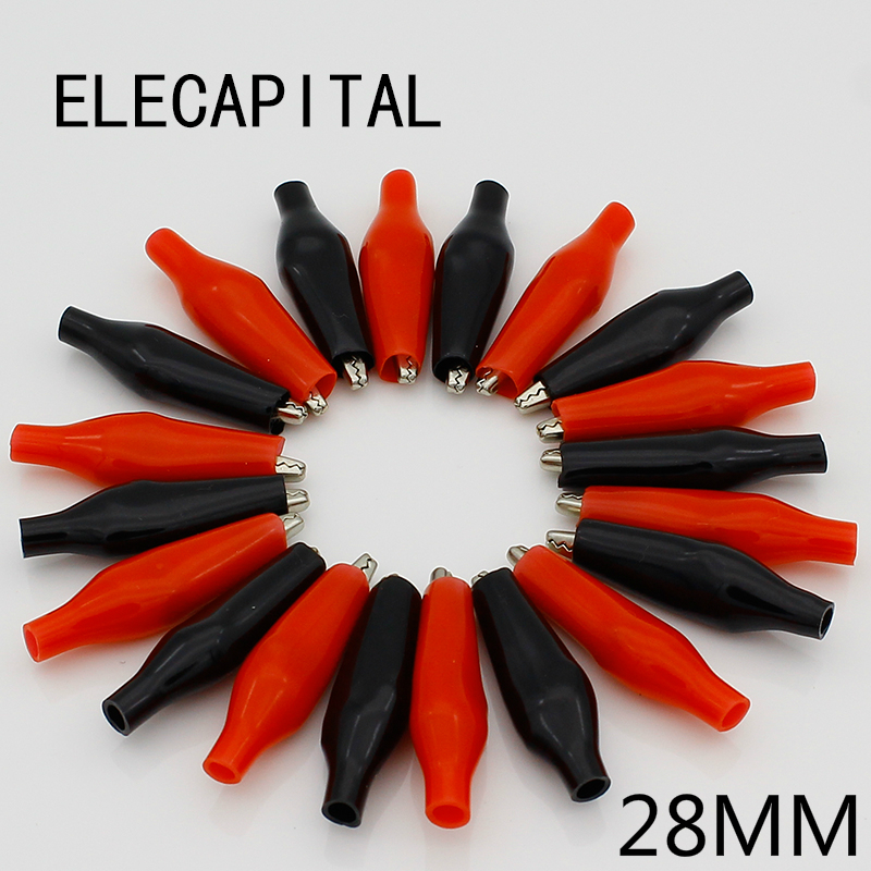 цена на 20pcs/lot 28MM Metal Alligator Clip G98 Crocodile Electrical Clamp for Testing Probe Meter Black and Red with Plastic Boot