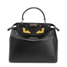 P158 fashion Women Genuine Leather shoulder bag handbag Leather monster cartoon handbag