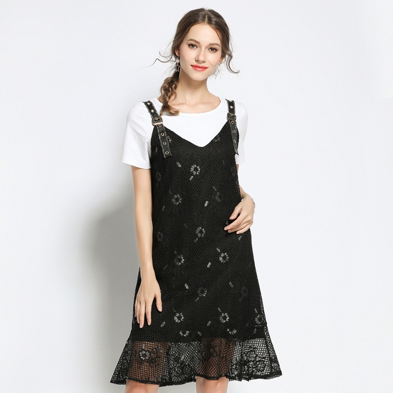 2018 Elegant Black Lace Dress Sundress Loose Maternity Clothes Casual Pregnancy Dress Two Pieces Floral Ruffles Plus Size M-5XL