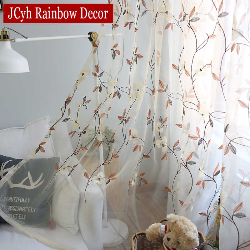 Floral Lace Tulle Curtains For Living Room Bedroom Embroidered Sheer Curtains For Children Bedroom Window Voile Curtains drapes