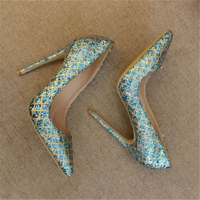 Free shipping fashion women Pumps lady Blue Glitter strass Pointy toe high heels shoes size33 43 12cm 10cm 8cm Stiletto heeled in Women 39 s Pumps from Shoes