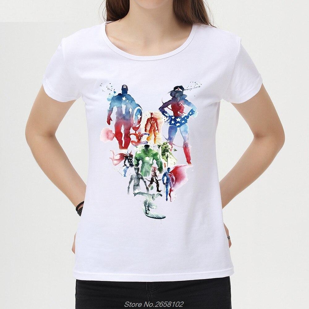 Fashion Women Watercolor The Avengers T Shirt Lady Superhero T-shirts Short Sleeve O-Neck Tees Novelty Tops Harajuku Streetwear