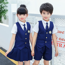 Summer new school uniforms kindergarten sets of clothing British wind vest three-piece student class service performance clothes