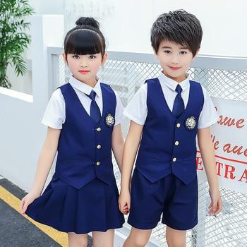 цена на Summer new school uniforms kindergarten sets of clothing British wind vest three-piece student class service performance clothes
