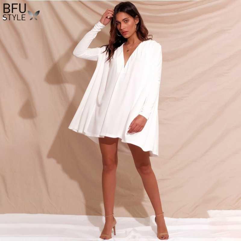 2019 осеннее Короткое женское платье с длинным рукавом, сексуальное, с v-образным вырезом, Свободные повседневные платья, элегантные, черные, белые, Необычные Вечерние платья