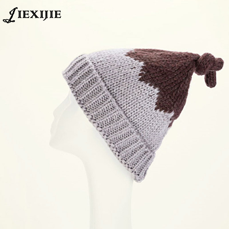126fcb7f6fe0 2016 La queue chapeau nouvelle automne hiver bridage plume balle main-fait  tissé laine à tricoter chapeau parent-enfant bord de chapeau adulte chapeau