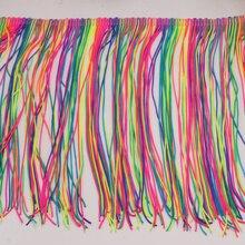 Chainette Fringe Tassel Various Colors 5 Yds Nylon Latin Dress Trimming Dancewear Macrame Sewing Lace Fluro Double Band 20CM