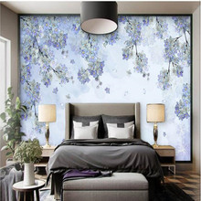 3D Wall Mural In Wallpapers Pastoral Nov Woven Fabric Wallpaper Hand Painted  Purple Flower Vine Wall Murals Scenery Wall Sticker
