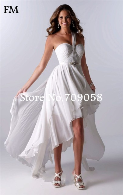 Simple Sweetheart Backless Short Beach Wedding Dress Short Front Long Back  Summer Chiffon Wedding Gown Vestido