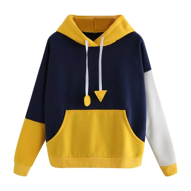 38d01b130bd Autumn Winter Hoodie Sweatshirt Womens Long Sleeve Jumper Hooded Pullover  Tops Plus Size Patchwork Pocket Hoody For Women Shirt