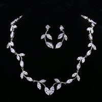 Top Quality Wedding Bridal Jewelry Sets Include Necklace And Earrings Sparkling Marquise Cubic Zirconia Jewelry Set