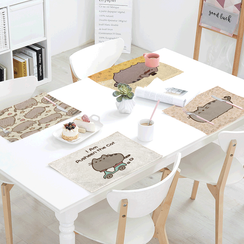 32*42cm Cute Biscuit Cat Print Table Napkin Linen Material Western Restaurant Family Living Room Tableware Decoration Tablecloth