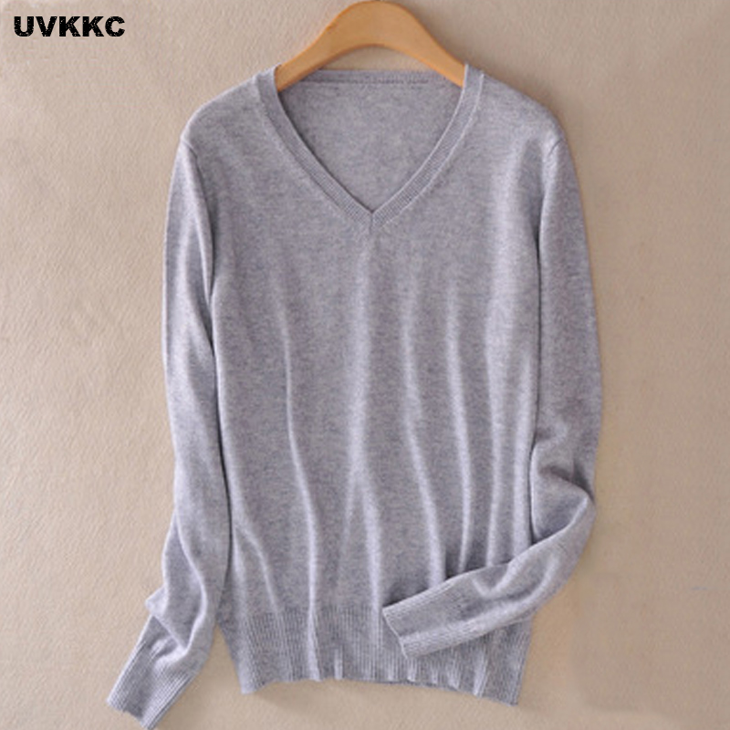 UVKKC New 2016 Autumn Spring Fashion Women Sexy V neck Knit candy color Sweater Outerwear Pullover