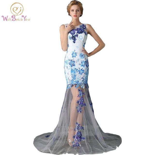 435b9a352 Imagen Real azul Vestidos De Noche Vestidos De Gala Largos 2018 Madre De la  novia Tulle