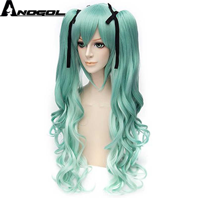 Anogol Vocaloid Miku Natural largo cuerpo Onda Verde doble Clip Cola de Caballo disfraz sintético Cosplay peluca para Halloween + cinta negra