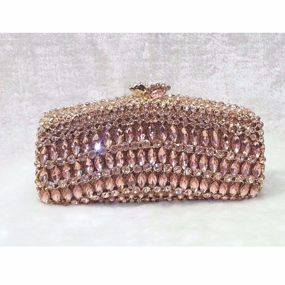 ФОТО 8245CH champagne Crystal lady fashion Wedding Bridal Party Night hollow Metal Evening purse clutch bag box handbag case