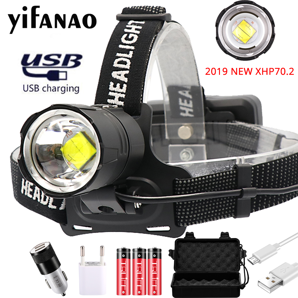 <font><b>3000LM</b></font> XHP70.2 Led Headlamp Fishing Headlight XHP70 USB Rechargeable Zoom Head Lamp Torch Powerful Hunting Lanterna Use 3x18650 image