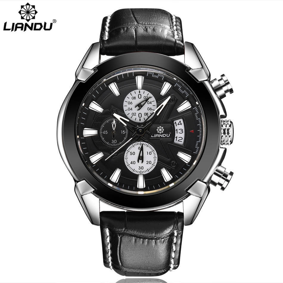 LIANDU Luxury Men 39 s Watches Brown Black Leather Chronograph Multi Function 3ATM Waterproof Quartz Sport Mens Wristwatches in Quartz Watches from Watches