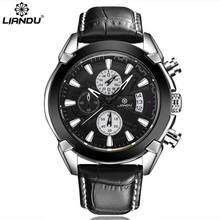 LIANDU Mens Leather Watch Chronograph Multi-Function 3ATM Waterproof Quartz (Brown Black)