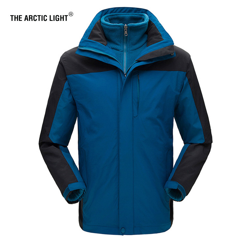 купить THE ARCTIC LIGHT Hiking Jacket Ski Winter Outdoor Sport Windproof Waterproof Coat Men Thermal Soft shell Fleece Jacket 2 In 1 онлайн