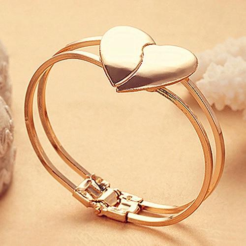 Hot Hot Sales Selling Women Love Heart Bracelet Gold-color Multilayer Chain Cuff Bangle Gift 6KB6 7GL3 BDMX